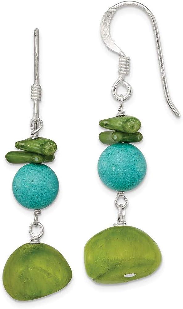 Saris and Things 925 Plata esterlina del Jade, Coral y Verde Pendientes de howlite teñido
