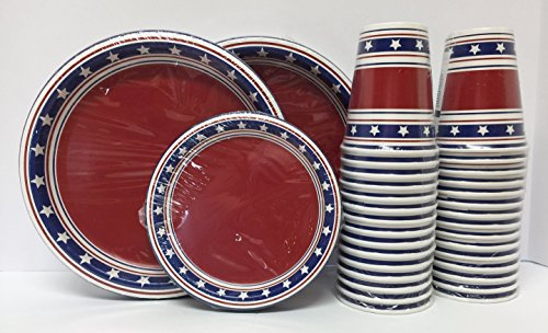 stars-red-white-blue-patriotic-american-heavy-duty-paper-disposable-coordinating-plates-and-cups-bun