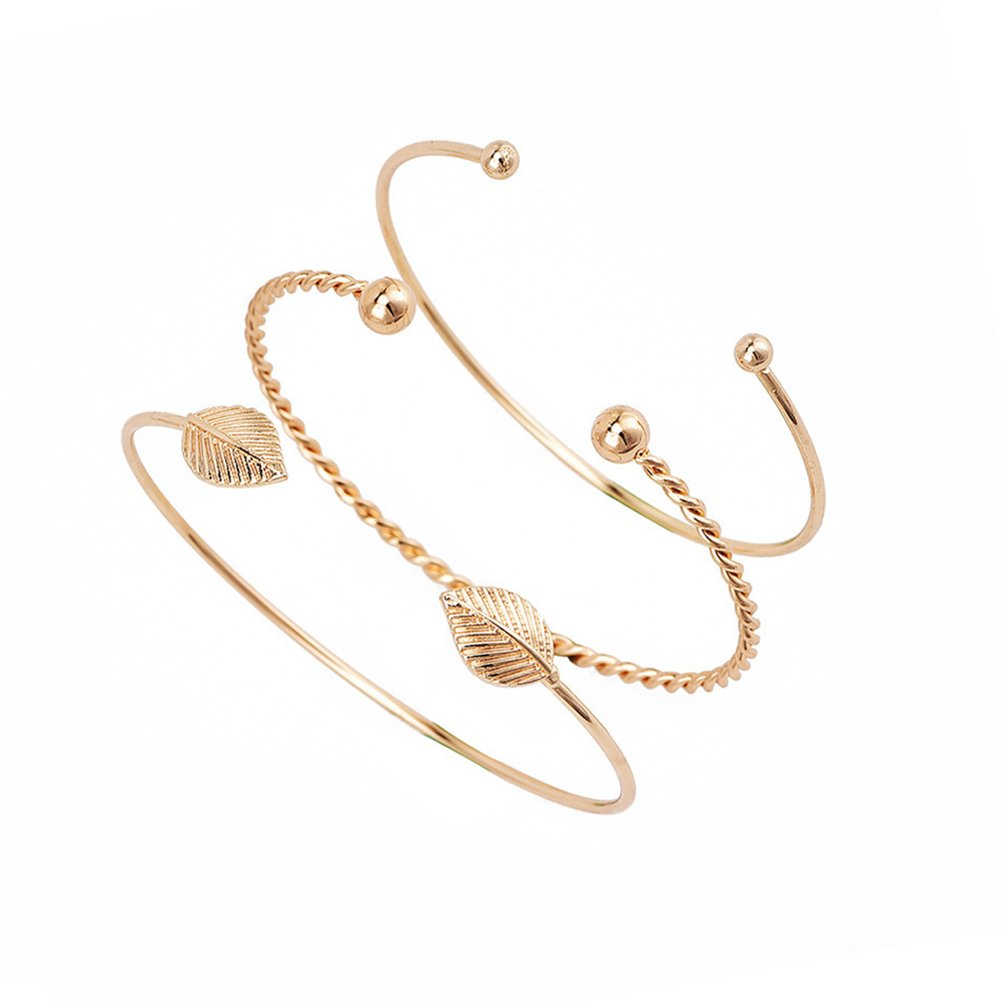 2/3Pcs Bangle Set Simple Arrow Knot Leaf Opening End Bracelet Cuff Jewelry Gift