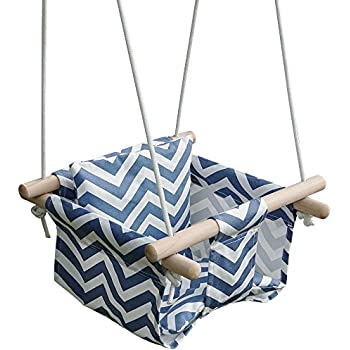 Amazon.com : KINSPORY Toddler Baby Hanging Swing Seat Secure Canvas Hammock Chair with Backrest ...