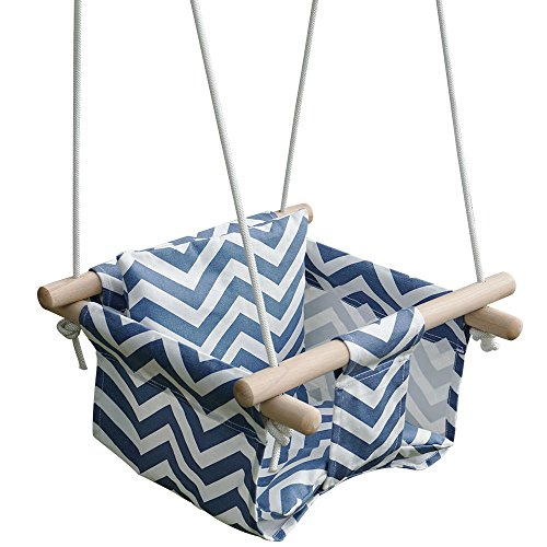 - KINSPORY Toddler Baby Hanging Swing Seat Secure Canvas Hammock Chair with Backrest Cushion - Installation Accessories Included (Blue/White Stripes)