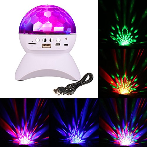 AOKARLIA Portable Party Speaker Lights,LED Crystal Ball Disco Bluetooth/LED Stage Lights Support FM TF Card AUX,White -