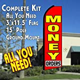 MONEY ORDERS (Red) Flutter Feather Banner Flag Kit (Flag, Pole, & Ground Mt)