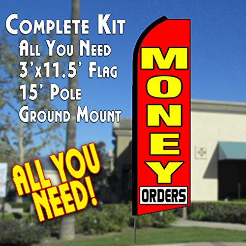 MONEY ORDERS (Red) Flutter Feather Banner Flag Kit (Flag, Pole, & Ground Mt) by Vista Flags