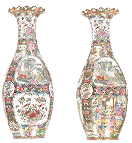 Pasargad DC Chinese Polychrome Hand Painted Porcelain Vases - A Pair ()