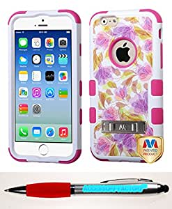 Accessory Factory(TM) Bundle (the item, 2in1 Stylus Point Pen) APPLE iPhone 6 Dancing Flowers Hot Pink VERGE Hybrid Protector Cover (with Stand)