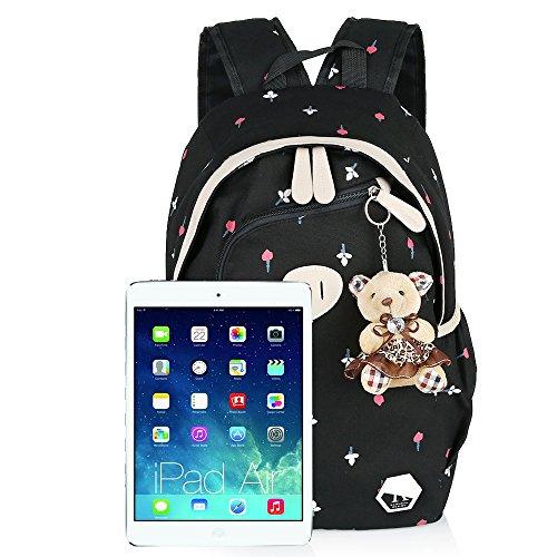 School Rucksack Bags Cross Girl Hotrose Black Canvas Backpack 3x Bear Bag Travel Messenger Shoulder body Bag School nYPP4q8UW