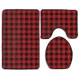 Soft Toilet Rug 3 Pieces Set,Buffalo Plaid Design, Non Slip Bathroom Rugs, U-Shaped Toilet Mat, Toilet Lid Cover
