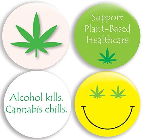 Marijuana Cannabis Pinback Buttons (2.25 inches) Set of 4