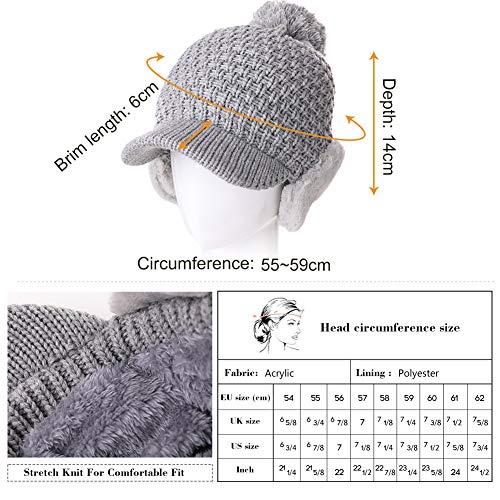 c196ad352e0 SIGGI Womens Knit Newsboy Cap Warm Lined Winter Hat 100% Soft Acrylic with  Visor