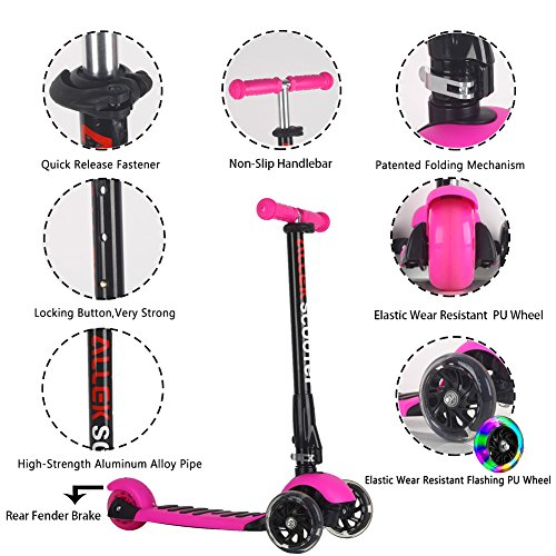 Allek Scooters for Kids, Wide Deck 3 Wheels Scooter for 3 Years and Up with T-Bar Handle 150lb Weight Limit Kick Scooter by Allek (Image #3)
