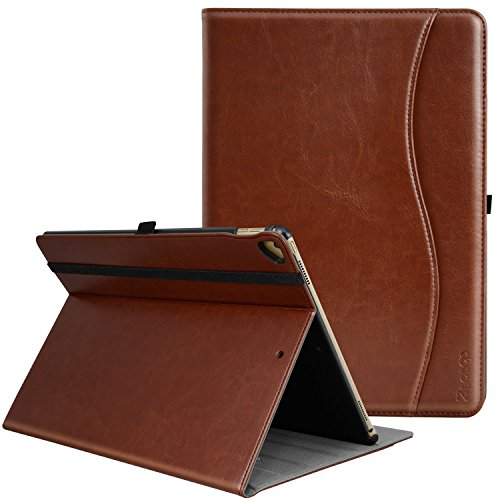 IPad Pro 12.9 Inch 2017 / 2015 Case, Ztotop Premium Leather Slim Folding Stand Folio Cover for New Apple Tablet with Auto Wake / Sleep and Document Card Slots, Multiple Viewing Angles,Brown (Premium Leather Case Cover)