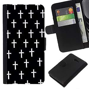 KLONGSHOP // Tirón de la caja Cartera de cuero con ranuras para tarjetas - Cruz Cristo Negro Muerte minimalista - Sony Xperia M2 //
