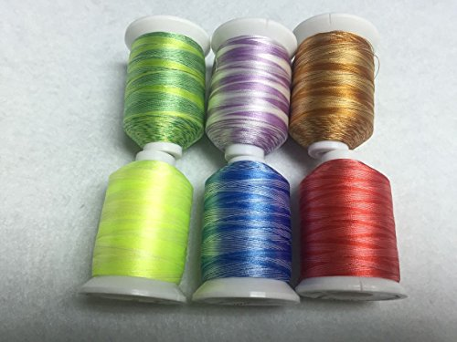 Sinbel Polyester Embroidery Thread 6 Variegated Colors For