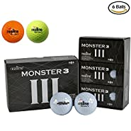 Monster 3 Ultra Maximum Distance Golf Balls for Driver and Accuracy Balance Aligned Golf Ball for Putt Alignment Precision Putting Green Side Control - USGA R&A Rule Conforming - 6 Count