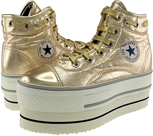 Synthetic Top Maxstar Leather High Platform Round Shoes Sneakers Double Lace Gold qpw17