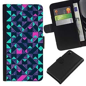 All Phone Most Case / Oferta Especial Cáscara Funda de cuero Monedero Cubierta de proteccion Caso / Wallet Case for Sony Xperia Z3 D6603 // Art Reflective Teal Pink Pattern