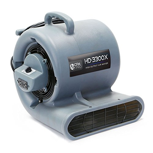 CFM Pro Air Mover Carpet Floor Dryer 3 Speed 1/3 HP Blower Fan with 2 GFCI Outlets - Stackable - Grey - Industrial Water Flood Damage (Carpet Dryer)