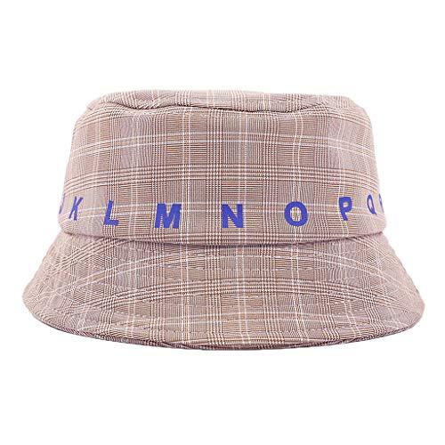LUNIWEI Sun Hat Children Plaid Bucket Summer Reversible Foldable Wide Cap for 2-4 Years Khaki ()