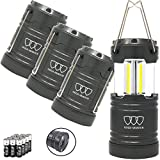 Gold Armour 4 Pack Portable LED Camping Lantern Flashlight with Magnetic Base – EMITS 500 LUMENS – Survival Kit for Emergency, Hurricane, Power Outage with 12 AA Batteries