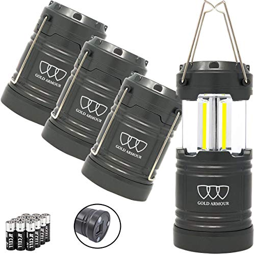 Gold Armour 4 Pack LED Camping Lantern Flashlight with Magnetic Base - EMITS 500 LUMENS - Survival Kit for Emergency, Hurricane, Power Outage 12 AA Batteries Included (Gray)