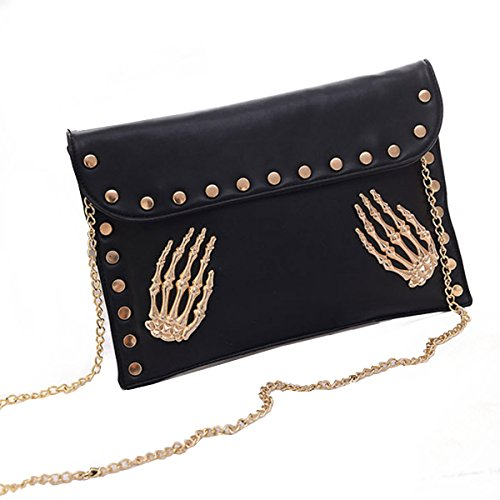 Vintage Gothic Rivets Envelop Clutch Shoulder Handbag Skull Pattern Handbag Purse Black (Gothic Purse)