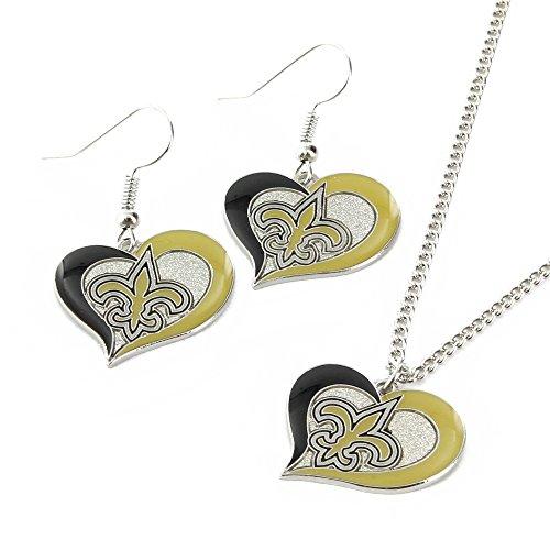 NFL New Orleans Saints Swirl Heart Earrings & Pendant Set