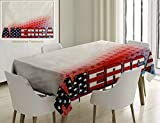 Unique Custom Cotton And Linen Blend Tablecloth American Decor Usa Flag On America With Stars Background Illustration Freedom Independence LTablecovers For Rectangle Tables, Small Size 48 x 24 Inches