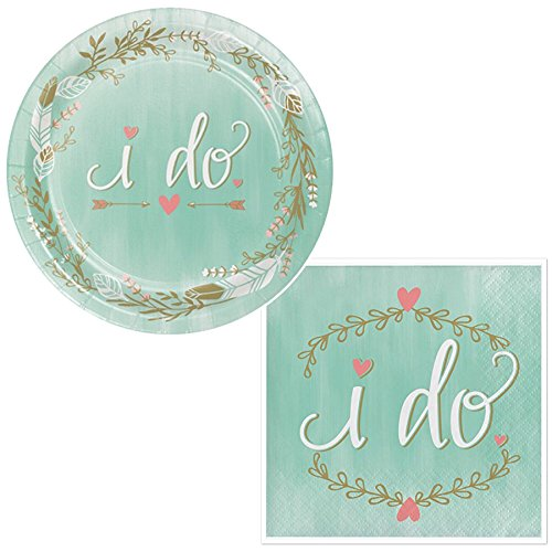Mint To Be I do Napkins & Plates Party Kit: Serves 16 by Olive Occasions