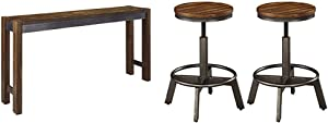 Ashley Furniture Signature Design - Torjin Counter Height Dining Room Table - Two-Tone Brown & Signature Design by Ashley - Torjin Stool - Set of 2 - Industrial Style - Two-Tone Brown/Gray