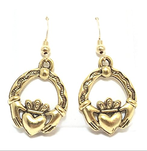 Gold Tone Pewter Claddagh Charms on Hypoallergenic French Hook Dangle Earrings 5390