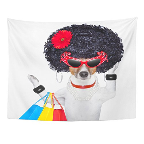 TOMPOP Tapestry Crazy Diva Dog Shopping Like Pro Holding Bun