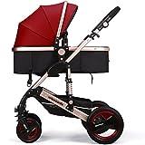 Miami Dress Luxury Newborn Baby Strollers Travel Systems Carriage Toddler Infant Stroller Pushchair Pram Foldable Anti-shock Baby Strollers (burgundy)