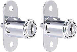 "uxcell Drawer Desk Wardrobe Cabinet Push Plunger Lock, 3/4"" Cylinder Diameter 7/8"" Cylinder Length, Zinc Alloy Chrome Finish, Keyed Different 2Pcs"