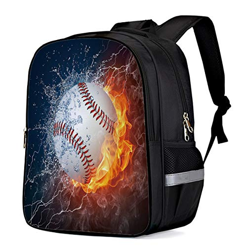 Water Resistant School Backpack, Water Fire Tennis Balls Lightning Oxford 3D Print College Student Rucksack Daypack for School Camping Travel 33x28x16cm]()