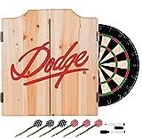 Red Dodge Design Deluxe Solid Wood Cabinet Complete Dart Set