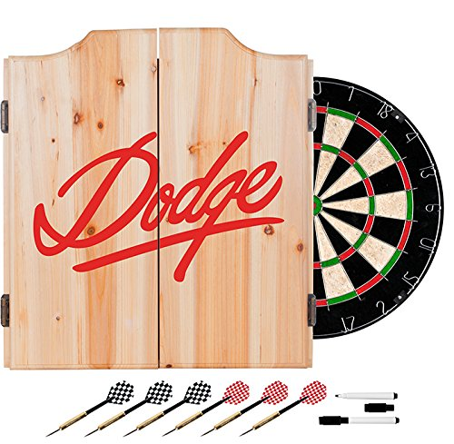 Red Dodge Design Deluxe Solid Wood Cabinet Complete Dart Set by TMG