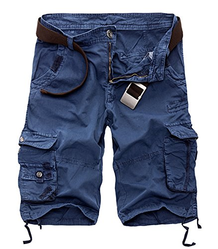 AOYOG Mens Solid MultiPocket Cargo Shorts Casual Slim Fit Cotton Solid Camo Shorts, Royal Blue 6603, Lable size 34(US 32)