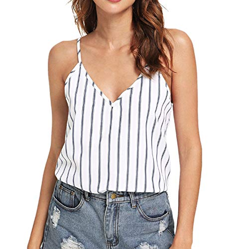 - ZainafacaiTunic Camis Tops,V-Neck Sleeveless Off-The-Shoulder Striped Print Halter Sling top White