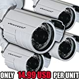 Ventech 4 pack CCTV 1/3 CCD 1000TVL HD 3.6mm Mini bullet Security Camera outdoor Surveillance Camera with Bracket aa