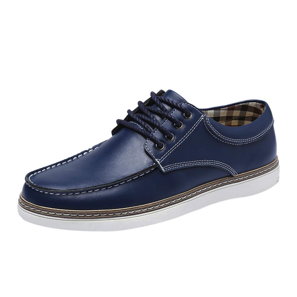 Men's Casual Oxford Shoes Casual Breathable Fashion Business Leather Shoes (US:8.5, Blue)