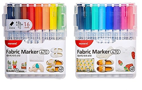 Monami Fabric Art Markers T-Shirt Eco Bag Child Safe Premium quality 15-PACK by Monami