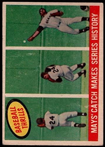 (Baseball MLB 1959 Topps #464 Willie Mays Mays' Catch Makes Series History NY Giants)