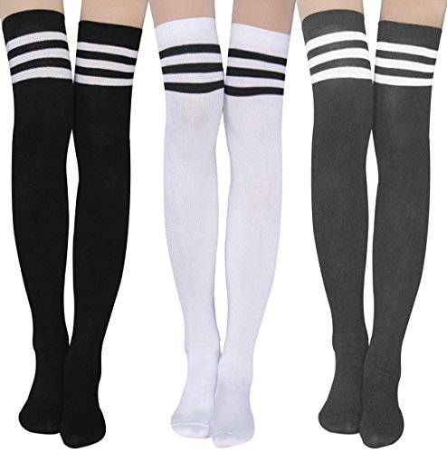 (Womens Stripe Thigh High Socks - Leg Warmer Dresses Over Knee High Stockings Cosplay)