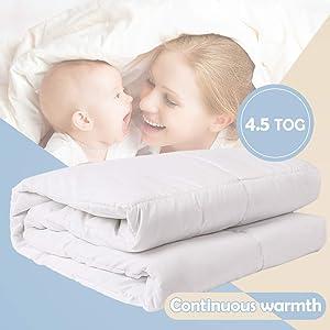 i-baby Baby Duvet Baby Bedding Nursery Quilt Newborn Comforter Microfiber Cover Polyester Filling 48 x 59 inch (120x150cm) for Boys Girls (White)