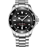 "Mens Swiss Automatic Stainless Steel Professional""DEPTHMASTER"" Dive Watch, 200 Meters Water Resistant, Brushed and Beveled Bracelet with Divers Safety Clasp and Screw Down Crown (Black)"