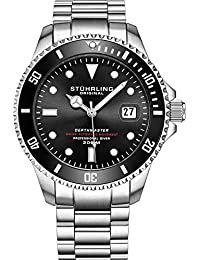 """Mens Swiss Automatic Stainless Steel Professional """"DEPTHMASTER"""" Dive Watch, 200 Meters Water Resistant, Brushed and Beveled Bracelet with Divers Safety Clasp and Screw Down Crown (Black)"""