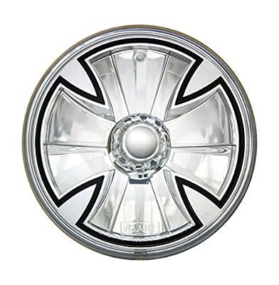 "Adjure 5-3/4"" Rodeo Drive Style Motorcycle Headlight Bucket Combo with Diamond Cut Iron Cross Headlamp"