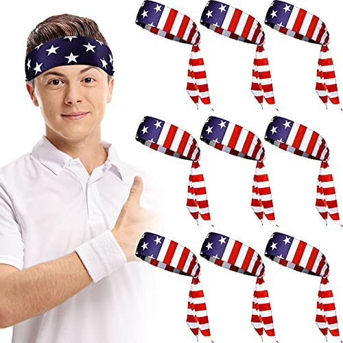 Xtinmee 10 Pieces American Flag Head Tie USA Patriotic Sports Headband Head Bandana Apparel Sweat Wicking 4th of July Hair Band for Men Women Exercise Running Tennis Football Volleyball Rowing