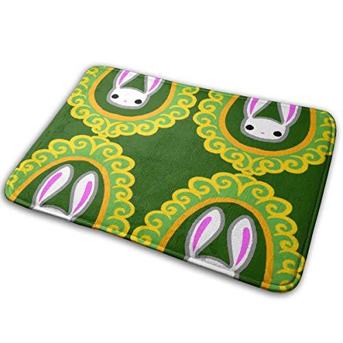 LNUO-2 Indoor Outdoor Door Mat Bunny Brooch Rug Floor Mats for Pets, Rubber Non Slip Backing